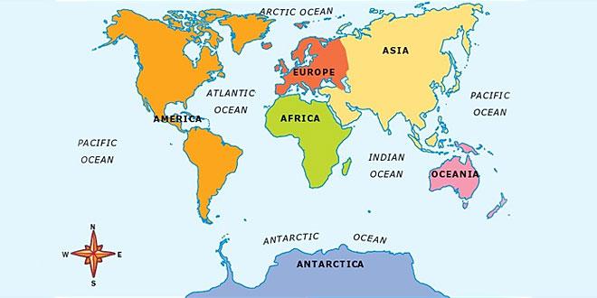 Major oceans of the world
