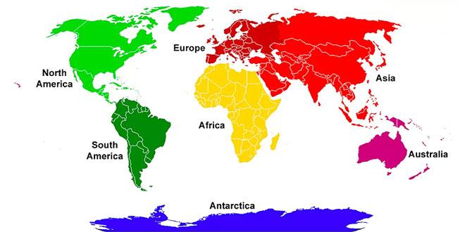 Earth major continents