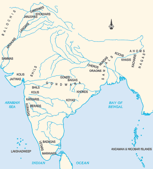 Several tribes live in different parts of India