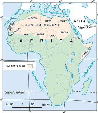 Map of Africa, mark the Sahara desert and countries around it