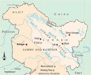 Map of India, mark the Karakoram Range, Zanskar Range, Ladakh and Zojila pas