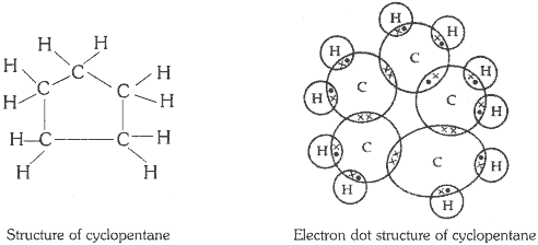 What will be the formula and electron dot structure of cyclopentane