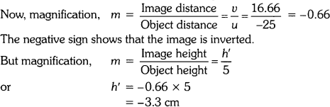 The positive value of v shows that the image is formed at the other side of the lens